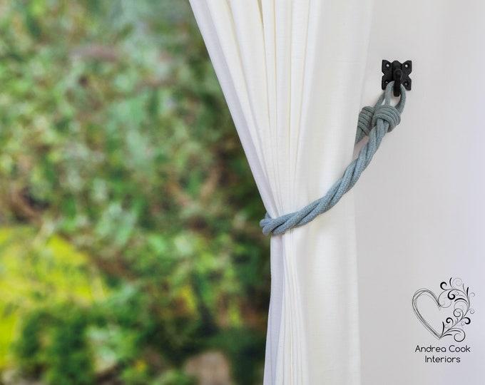 Light Grey Cord Twisted Tiebacks - Pink Tie Backs, Curtain Tiebacks, Curtain Holdback, Curtain Hold back, Cord Tiebacks, Curtain Ties