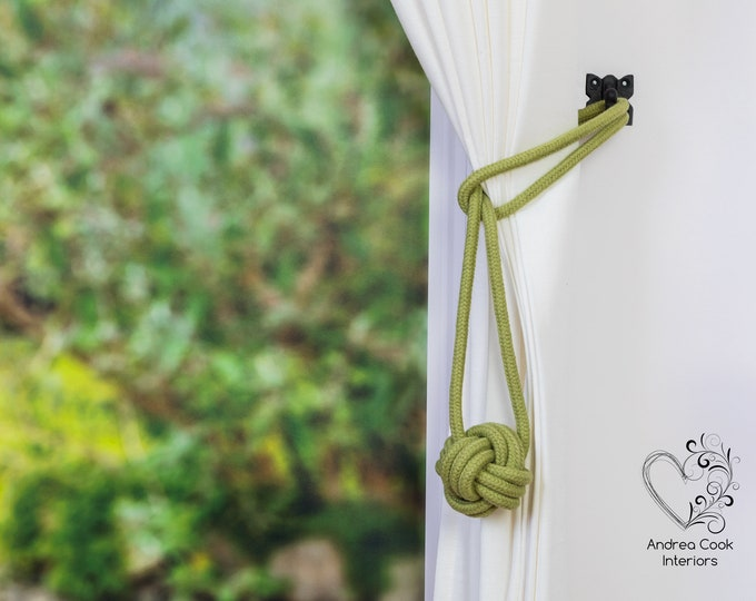 Medium Sage Green Monkey Fist Tie Back - Green Holdback, Green Tieback, Curtain Tie, Curtain Hold Back, Tiebacks For A Nursery, Rope Tieback