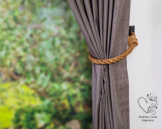 Medium 0.78 inch/2cm Chunky Manila Rope Tiebacks -  Rustic Tiebacks, Rope Tie-backs, Curtain Holdbacks, Tie back, Nursery Decor