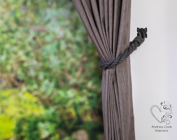 Charcoal Grey Twisted Tie Backs - Nautical Holdbacks, White Rope Tiebacks, Curtain Tie Back, Curtain Tieback, Curtain Holdback, Rustic