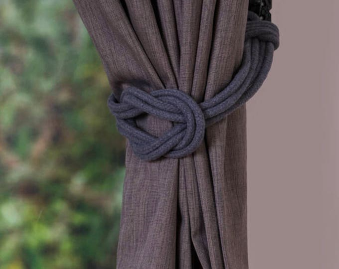 Slate Grey Cotton Cord Double Square Knot Tieback, Nautical Curtain Tie Backs, Rope Ties, Curtain Holdback, Curtain Tie, Rope Curtain Tie