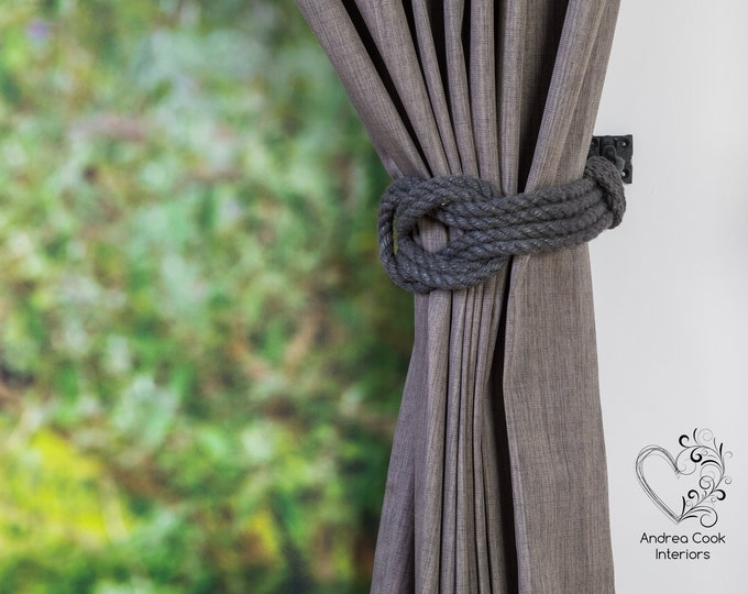 Large Charcoal Grey Double Square Knot Curtain Tie Backs - Curtain Holdback, Curtain Ties, Tiebacks For Curtains, Holdbacks, Hold Back