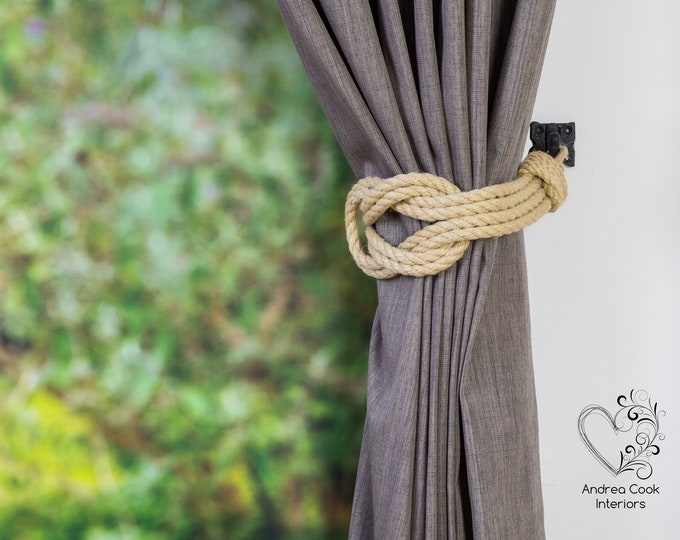 Large Beige Double Square Knot Curtain Tie Backs - Curtain Holdback, Curtain Ties, Tiebacks For Curtains, Holdbacks, Curtain Hold Back