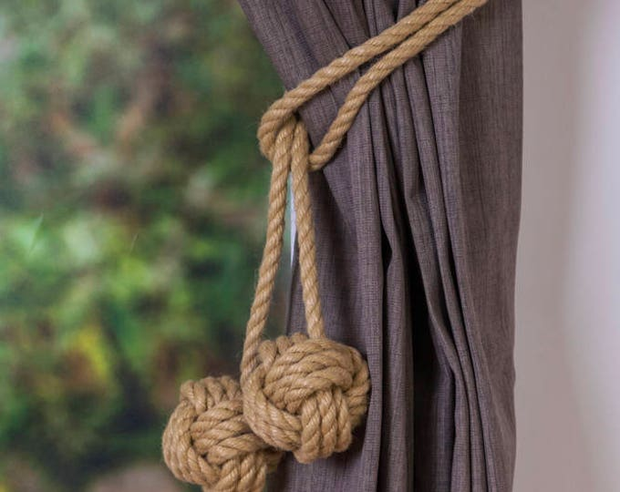 Hemp Rope Tie-backs Double Monkey Fist Knot Curtain Tiebacks / shabby chic windows/ Rope Tiebacks/ nautical ties/ nursery