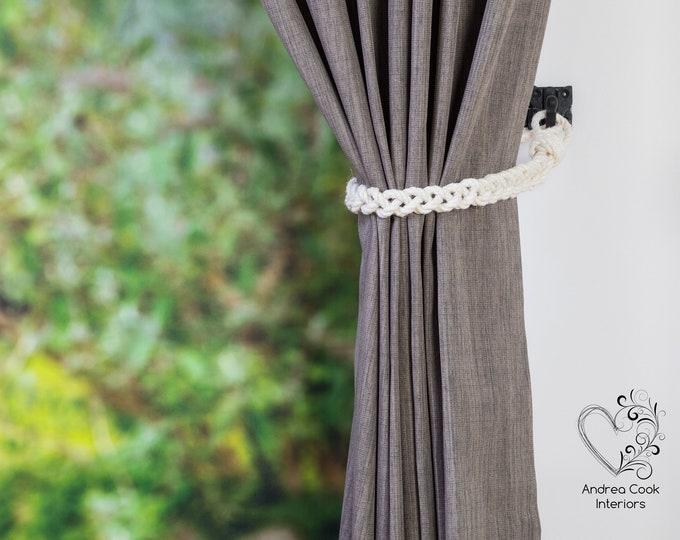 Slim Ivory White Braided Rope Tiebacks -  Braided Curtain Tie Backs,  Nautical Tiebacks, Curtain Holdback, Curtain Tiebacks, Rope Ties