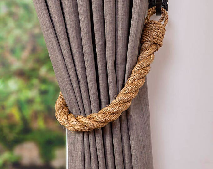 Extra Thick 2.8 cm Manila Rope Curtain Tiebacks hold-backs nautical decor Christmas decor Industrial decor Natural rope
