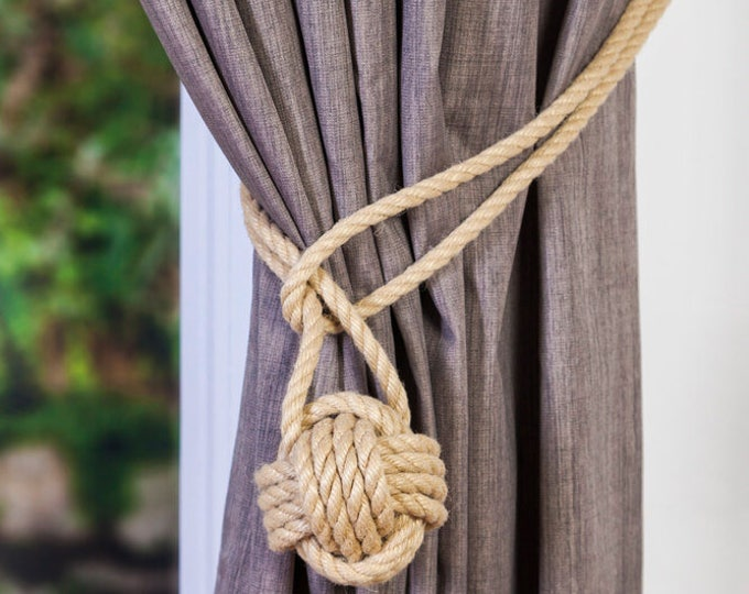 Beige Hemp Rope Monkey Fist Knot Tie-backs / Nautical curtain tiebacks/knot hold-backs / curtain ties / ball curtain tie-backs / ivory rope