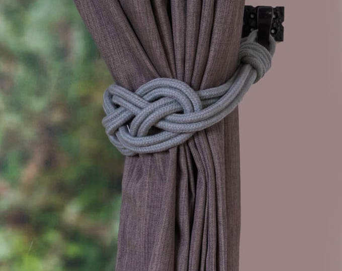 Light grey Cotton Rope Carrick Bend Knot Curtain Tie-backs Large Knot Nautical Style Shabby Chic Rope Curtain Gray Tiebacks Hold-backs Cord