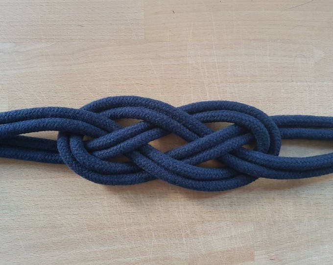 Navy Blue Cotton Rope Carrick Bend Knot Curtain Tie-backs Large Knot Nautical Style Shabby Chic Rope Curtain Tiebacks Hold-backs Navy Blue