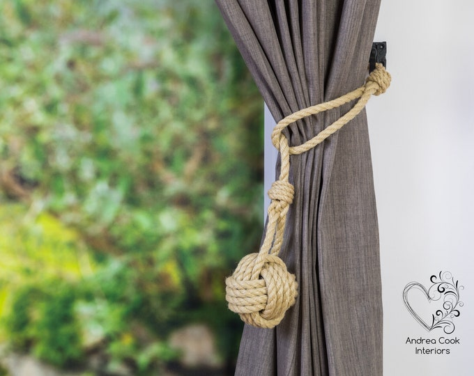 Large Beige Spliced Monkey Fist Tieback - Rope Ties, Nautical Decor, Curtain Tieback, Rustic Tiebacks, Shabby Chic Curtains, Curtain Tieback