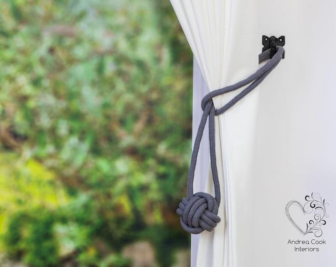 Medium Slate Grey Monkey Fist Tie Backs - Nautical Tiebacks, Curtain tiebacks, Curtain Hold Back, Curtain Holdbacks, Curtain Tie, Nursery