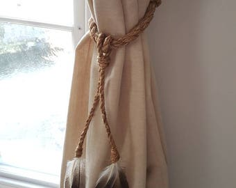 White Cotton Rope Feather Tassel Curtain Tie Backs Shabby Etsy