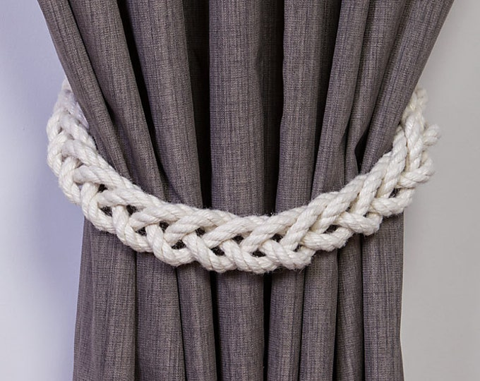 Chunky White Cotton Rope Braided Curtain Tie Backs / nautical living room window treatment/ Drape hold backs/ shabby chic curtain tiebacks