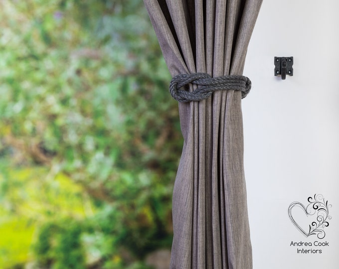 Small Charcoal Grey Double Square Knot - Curtain Wrap Around, Curtain Tie Back, Curtain Hold Back, Nursery Decor, Nursery Tiebacks, Holdback