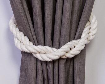 Thick Ivory Tiebacks / Twist White holdbacks/ Cotton Rope Curtain Ties/ nautical tiebacks/shabby chic windows / nautical tiebacks/ stylish