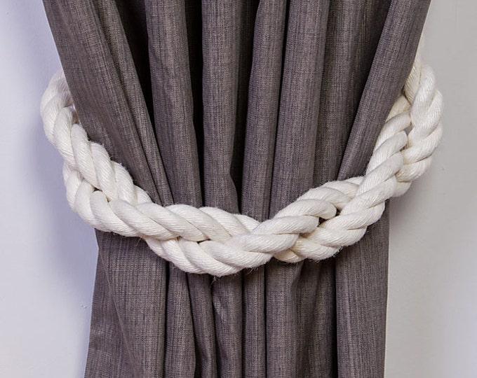 Thick Ivory White Tiebacks - Twist White Holdbacks, Rope Curtain Tie back,  Nautical Tiebacks, Rope Curtains, Nautical tiebacks, Holdback