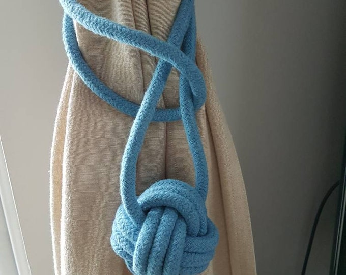 Cotton cord Monkey Fist Knot Tie-backs / Nautical curtain tiebacks/ sky blue hold-backs / curtain ties / ball curtain tie-backs / sky blue