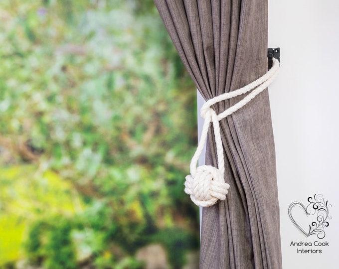 Medium Ivory White Monkey Fist Knot -  Curtain Tie Backs, Nautical Tie Back, Knot Tiebacks, Nautical Decor, Nursery Decor, Curtain Holdback