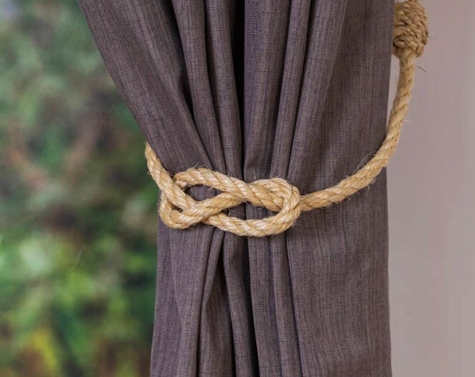 Simple Knot Rustic Nautical Sisal Rope Curtain Tiebacks / Nautical nursery/ curtain tie-backs/ hold backs/ boho decor/ coastal beach decor