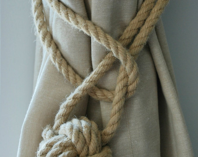 Hemp Rope Tiebacks/ Rustic Hemp Rope ties/ Monkey Fist Knot Curtain Tiebacks / shabby chic windows/ Rope Tiebacks/ nautical ties/ Christmas