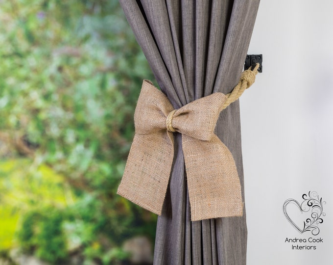 Twisted Beige Rope and Burlap Bow Curtain Tiebacks - Rope Curtain Tiebacks, Curtain Holdbacks, Curtain Tie Back, Nautical Tiebacks, Nursery