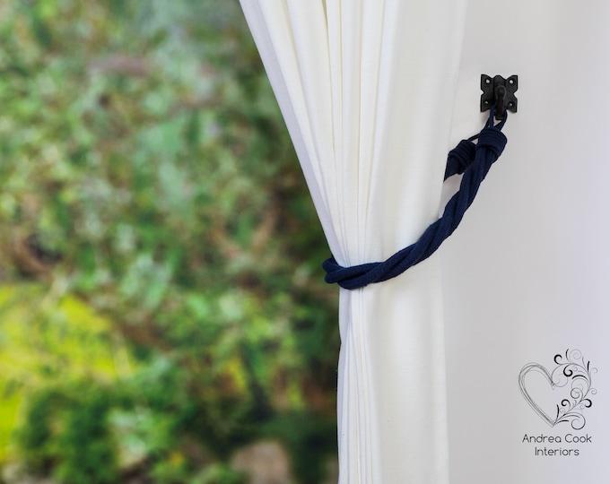 Navy Blue Cord Twisted Tiebacks - Pink Tie Backs, Curtain Tiebacks, Curtain Holdback, Curtain Hold back, Cord Tiebacks, Curtain Tie back