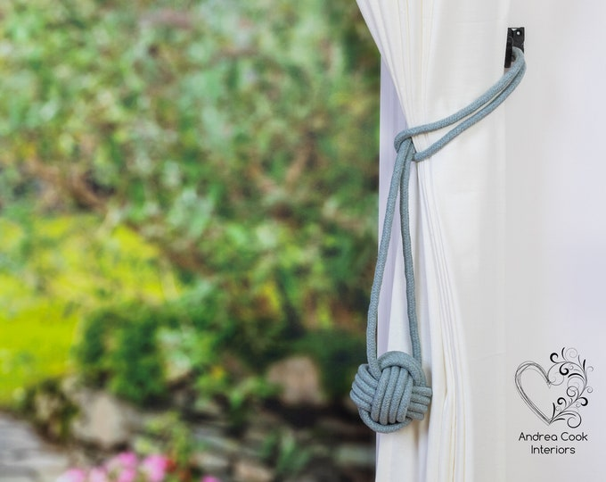 Large Light Grey Monkey Fist Tieback - Nautical Tieback, Curtain Hold Back, Curtain Tie Back, Curtain Tieback, Curtain Holdback, Curtain Tie