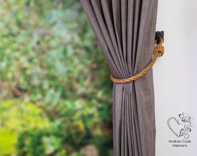 Slim 0.55 inch/1.4 cm Manila Rope Curtain Tie-Backs - Nautical Hold-backs, Rustic Tieback, Natural Rope Tiebacks, Rope Holdbacks