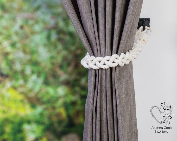 Chunky Ivory White Cotton Rope Tiebacks -  Braided Curtain Tie Backs,  Nautical Tiebacks, Curtain Holdback, Curtain Tiebacks