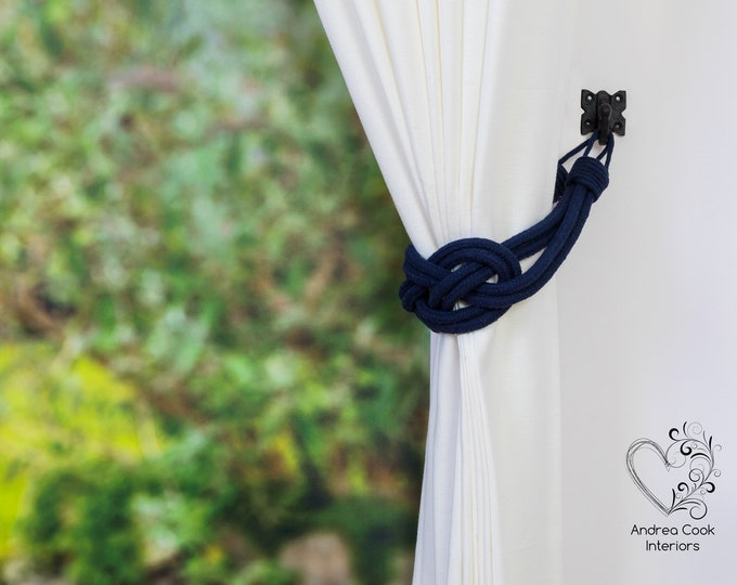 Large Navy Blue Carrick Bend Knot Curtain Tie backs, Nautical Tiebacks, Curtain Tie Back, Curtain Tieback, Curtain Holdback, Curtain Tie