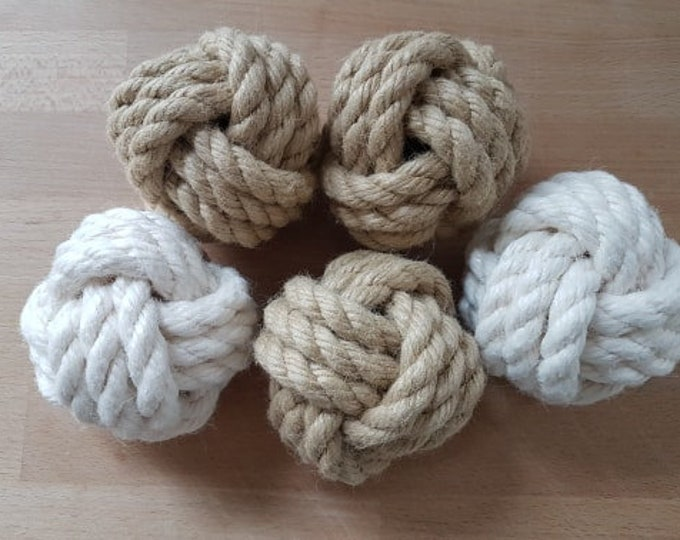 Monkey Fist knots decoration balls nautical decor 3 inches beige room accessory knots