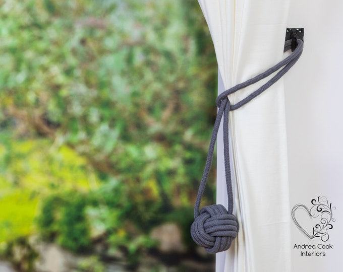 Large Slate Grey Monkey Fist Tieback - Nautical Tieback, Curtain Hold Back, Curtain Tie Back, Curtain Tieback, Curtain Holdback,