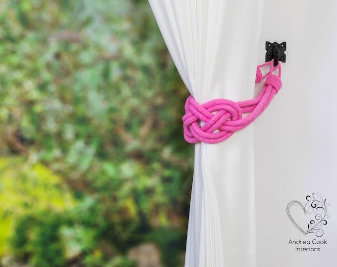 Large Rose Pink Double Carrick Bend Tiebacks - Pink Tiebacks, Pink Hold Back, Yellow Holdbacks, Pink Curtain Ties, Rope Tie back, Pink Decor