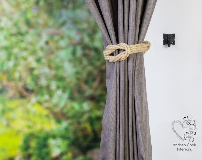 Small Beige  Double Square Knot - Curtain Wrap Around, Curtain Tie Back, Curtain Hold Back, Nursery Decor, Nursery Tiebacks, Holdbacks