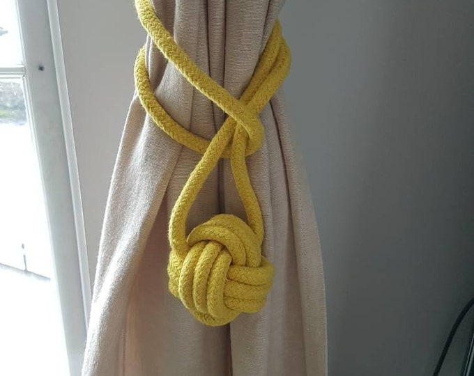 Cotton cord Monkey Fist Knot Tie-backs / Nautical curtain tiebacks/ yellow hold-backs / curtain ties / ball curtain tie-backs / yellow