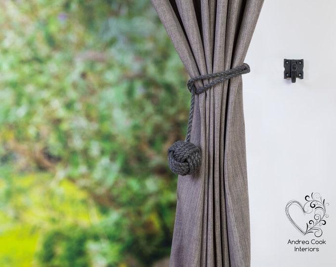 Small Charcoal Grey Spliced Monkey Fist Curtain Tie Back, Curtain Holdback, Rope Tieback, Nautical Decor, Curtain Tie, Nursery Decor