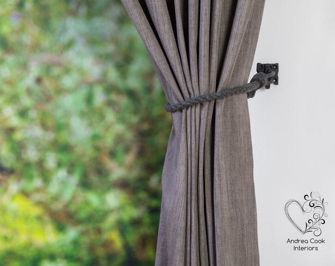 Slim Charcoal Grey Cotton Rope Curtain Tie backs - Nautical Tiebacks, Rope Tie back, Curtain Holdbacks, Curtain Tieback, Curtain Tie Back