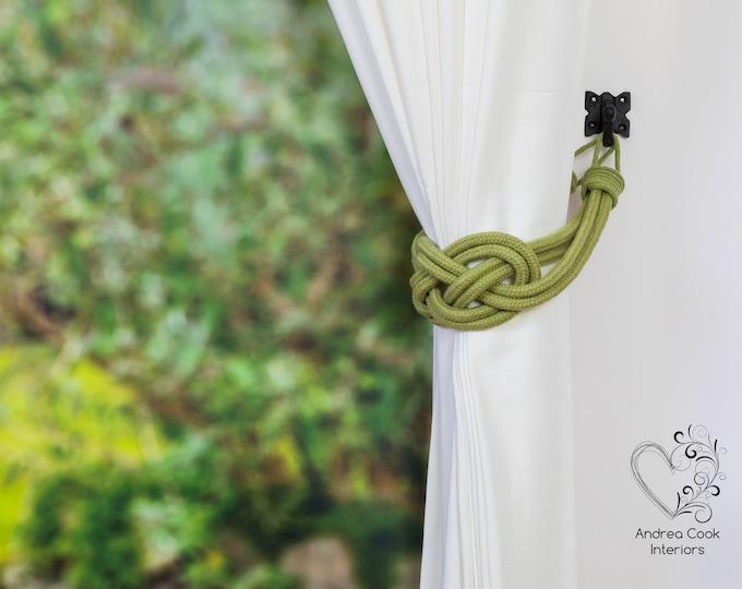 Large Sage Green Carrick Bend Tiebacks - Nautical Tiebacks, Curtain Holdback, Rope Curtain, Rope Tieback, Curtain Hold Back, Curtain Ties