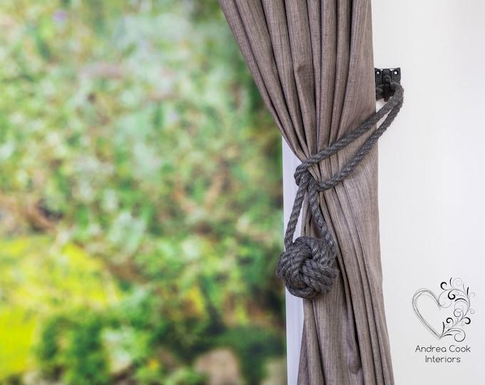 Medium Charcoal Grey Rope Monkey Fist Tiebacks - Nautical Tie Back Curtain Tie, Nautical Decor, Tiebacks For Curtains, Curtain Holdback