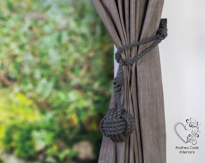 Large Charcoal Grey Spliced Monkey Fist Tieback -  Nautical Decor, Curtain Tieback, Rustic Tiebacks, Curtain Hold Back, Curtain Tieback