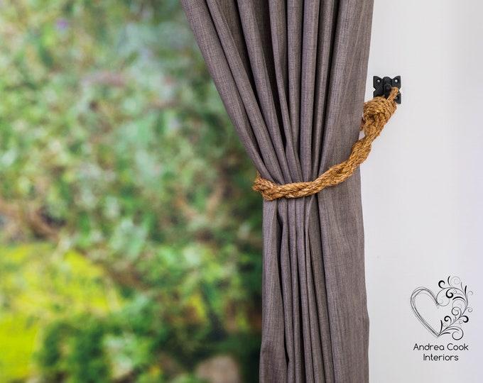 Slim Twisted Manila Rope Curtain Tiebacks - Shabby Chic, Nautical Tieback, Rustic Tiebacks, Curtain Holdback, Rope Curtian, Nautical Decor