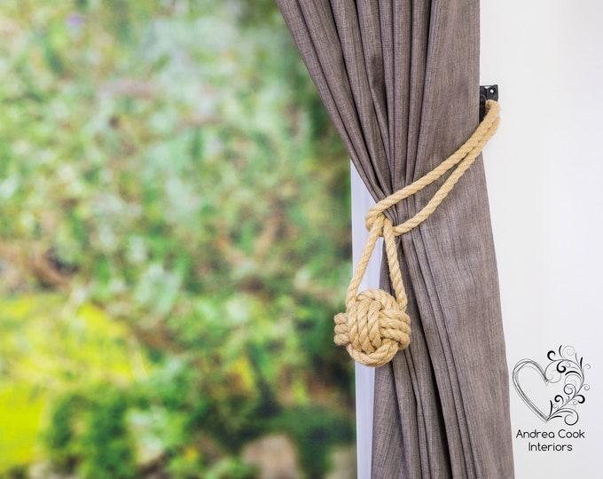 Medium Hemp Rope Tiebacks -  Curtain Hold Back, Monkey Fist Knot, Curtain Tiebacks.  Rope Tiebacks, Nautical Tieback, Curtain Tie Back