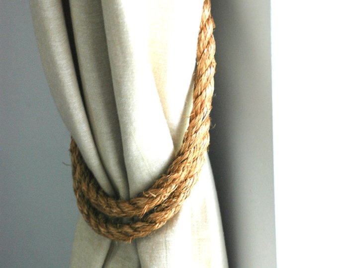 Handmade Wrap-around Manila Rope Curtain Tiebacks / nautical curtains /shabby chic tiebacks/ rustic tiebacks/ rope holdbacks/ chunky ties