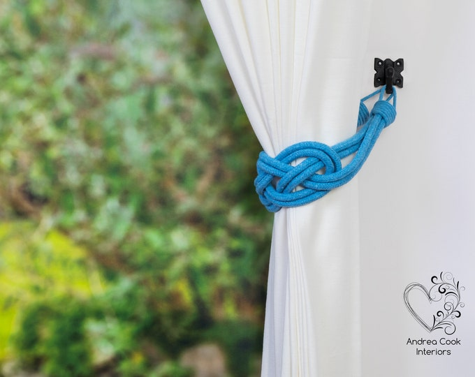Large Sky Blue Carrick Bend Tiebacks - Nautical Tiebacks, Curtain Holdback, Rope Curtain, Rope Tieback, Curtain Hold Back, Curtain Ties