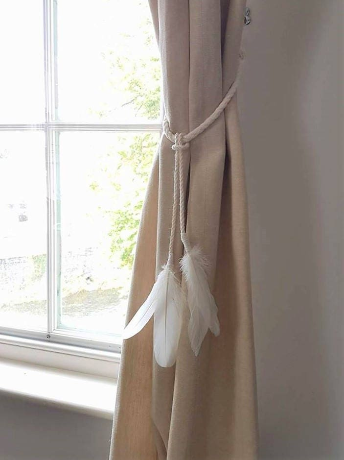 White Cotton Rope Feather Tassel Curtain Tie Backs Shabby Chic