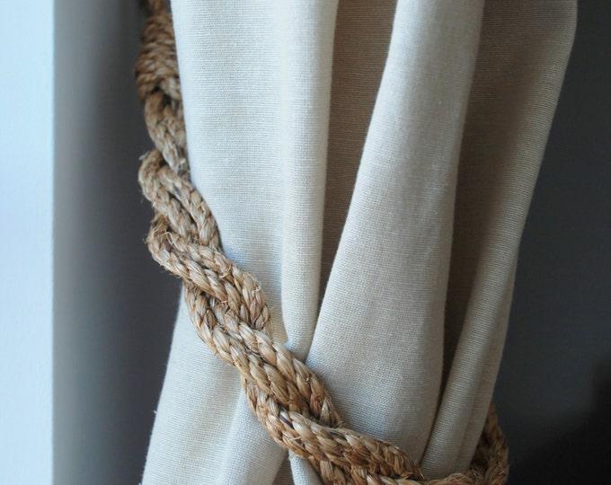 Rustic Manila Rope Curtain Tiebacks shabby chic nautical vintage style tie backs