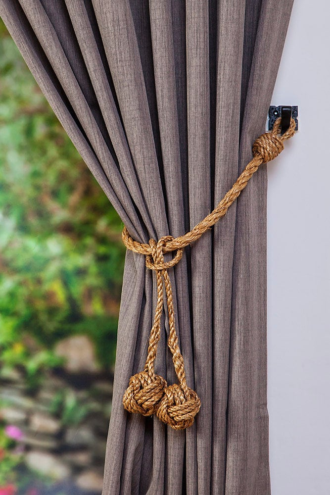 Manila Rope Hanging Monkey Fist Knot Removable Tassel Curtain