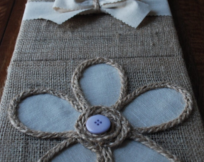 Set of 3 Handmade Nursery Wall Art Pictures For Kids/ nursery pictures/ burlap wall art/ burlap button handmade nursery flower bow pictures