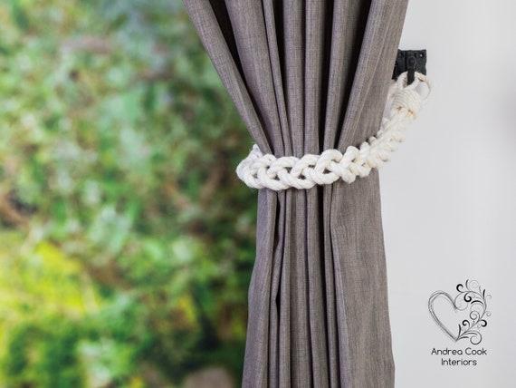 French farm house nautical monkey fist knot tie backs Curtain tiebacks Set of 6 Nautical rope Rustic nursery window treatments