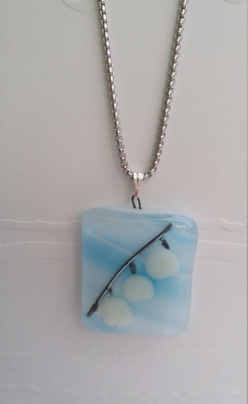 Bell flower on branch with blueglass pendant.Whitebell flower.Gift for her.Flower necklace.White flower.Spring design.Gift for Mom.Christmas